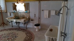 Bathroom at the Flagler Museum (Terry Hassan) Tags: usa florida miami palmbeach flaglermuseum whitehall mansion museum shower sink tub bath toilet rug plumbing