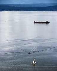 Puget Sound (WalrusTexas) Tags: seattle pugetsound ship boat sail water mountain ripples waves blue