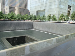World Trade Center Memorial Fountains 2016 NYC 4353 (Brechtbug) Tags: 911 memorial fountain lower manhattan 2016 nyc footprint world trade center wtc ground zero september 11 2001 downtown new york city 2011 fdny public monument art fountains 08272016 foot print freedom tower today west skyscraper building buildings towers reflection pool water falls waterfalls wall walls pools tier tiered 15 years fifteen five