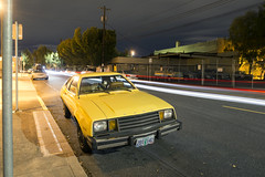 1980 Ford Pinto (Curtis Gregory Perry) Tags: portland oregon ford pinto 1980 night longexposure old classic car yellow traffic light trails auto automobile nikon d800e