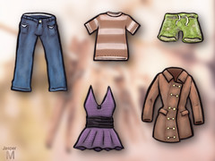 #095 - Clothing (J-T-M) Tags: jeans shirt trunks jacket dress wardrobe garments drawing illustration