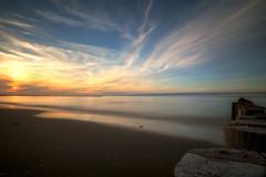 Sunset at the Baltic Sea Coast II (neya25) Tags: olympusomdem10 mzuiko 918mm zingst dars balticsea ostsee sundown sunset sunlight landscape landschaft longexposure langzeitaufnahme graufilter ndfilter buhnen sky clouds