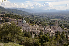 Umbria Italy, town of Assisi (Lucie Maru) Tags: umbria assisi italy town europe assisiitaly aerialview viewfromabove landscape clouds hills rollinghills farms olivetrees