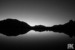 Quarry Lake Sunrise (ryan.kole32) Tags: canmore canmorealberta alberta canada canadianrockies rockies rockymountains landscape nature beauty beautyinnature blackandwhite monochrome black white mirrorimage reflection sunrise grotto grottomountain sony sonya77