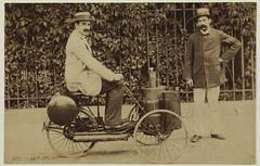 1887. Albert de Dion sur un tricycle  vapeur,  ct de Georges Bouton (foot-passenger) Tags: dionbouton  dedionbouton bnf gallica bibliothquenationaledefrance