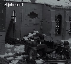 Bastogne 1944 (ekjohnson1) Tags: brothers band budge battle grey dark old citizenbrick brickarms bricklink tiger sherman tank jeep siege bastogne 2017 2016 va fair brick moc lego