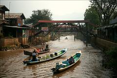 Inle Lake traffic (*Kicki*) Tags: myanmar burma inlelake inle inlaylake inlay lake canal longboats boats people traffic transport houses village shanstate footbridge bridge