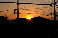 Day 289/366 : Birthday Sunset (hidesax) Tags: 289366 birthdaysunset quiet calm very nice sunset moon rise silhouette roofs utility poles wires sun light sky ageo saitama japan hidesax leica x vario 366project2016 366project 365project