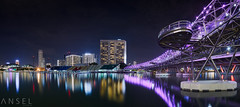 Night Dazzle (draken413o) Tags: singapore cityscapes skyline skyscrapers night urban places city lights bridge helix marina bay asia travel destinations esplanade panorama composite canon 17mm tse