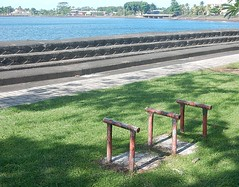 Benchless (mikecogh) Tags: apia samoa bench broken seawall steps foreshore
