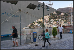 Three Hurry to the Crystal (J-o-h-n---E) Tags: greece symi harbour boat ship cruiseship people bow crystal three