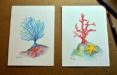 Reef (Mrcia Valle) Tags: watercolor aquarela aquaelle mrciavalle brasil brazil thesea mar corals corais fish peixe painting pintura reef coral recife