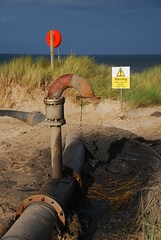 Oil leaking into Coquet estuary (neil mp) Tags: northumberland amble coquet rivercoquet estuary coquetestuary warkworthbeach standpipe oile oilleak danger leak pollution warning sign