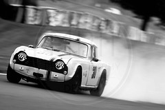 Chris Petch/Oliver Petch - Triumph TR5 (MPH94) Tags: oulton park cheshire north west motorsport motor sport race racing motorracing auto car cars october photography canon 500d cscc classic sports club adams page swinging sixties black white monochrome chris petch oliver triumph tr5