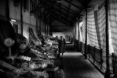 Santa Catarina market . (poupette1957) Tags: art atmosphre architecture black canon city curious deco grandangle humanisme imagesingulires market life monument monochrome noiretblanc photographie people portugal rue street shop urban ville porto