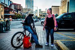 Catching Up (mikalf70) Tags: street austin cowboyhat people bike fuji xt1