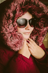 Ready for Winter! (Mark Heslington Photography) Tags: honeycomb grid egg crate eggcrate model little girl winter coat reflections reflection sunglasses shades purple portrait canon 2470
