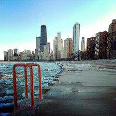 IMG_20130303_163828 (get directly down) Tags: winter lake snow chicago ice beach skyline michigan north avenue