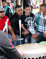 Learning the beat (ScribeGirl) Tags: boy music drum indian ceremony northcarolina tradition hollister nativeamerian haliwasaponipowwow2013