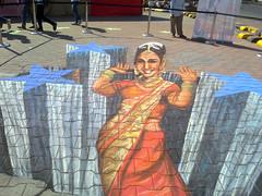 'Bollywood Loves Madhuri Dixit' (Tracy Lee Stum) Tags: india 3d mumbai chalkart kalaghoda streetpainter streetpaintingfestival streetpainting tracyleestum chalkdrawings chalkartist 3dstreetart chalksidewalk 3dstreetpainting 3dchalkdrawings 3dchalkart usconsulatemumbai 3dchalkartist
