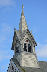 Church Steeple (Perl Photography) Tags: roof sky building bird tower church parish architecture grey wooden seagull shingles chapel structure steeple belfry historical