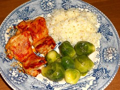 Barbecued Chicken Breasts (Mr. Ducke) Tags: food chicken rice sprouts