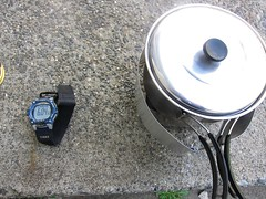 Boiling Time ~6 minutes (joeball) Tags: camping test water gear stove alcohol brass weights boil trangia clikstand