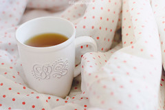 Good morning (curlsandsea) Tags: morning white cute cup tea fresh sheets mug dots polkadot