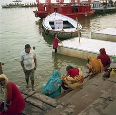 Prayer to the Ganges -  Varanasi - India (waex99) Tags: india film kodak iii holy sacred varanasi agfa portra ganges ghats 400iso benares 2014 isolette sacree