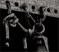 Shackles, Line & Eye Bolt (RiverBearPhoto) Tags: nanaimo british columbia canada vancouver island leon jackson riverbear photo monochrome black white hoist shackle knot line hook eye