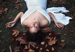 Kelly (reecord2) Tags: portrait leaves autumn canon richardsheehan 50mm nature whitedress redhair redhead shoulders meditation fashion 6d fullframe tiffen