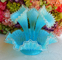 Vintage Fenton Glass Three Horn Epergne Blue Opalescent Diamond Lace (Donna's Collectables) Tags: vintage fenton glass three horn epergne blue opalescent diamond lace