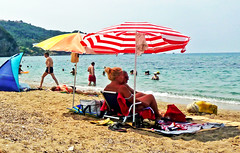 Day at the Beach (jann.haemers) Tags: outdoor beach corfu island greece europe 2015 summer colorful sunny tanning parasol people sand mountain