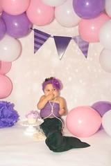 Alyssa (Ruby Wayne) Tags: aly alyssa mermaid cake cakesmash girl indoor pink purple