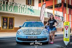 A Girl and Her Bug (Eric Arnold Photography) Tags: vw volkswagen bug beetle newbeetle leopard print girl female woman brunette longhair shorts short daisy dukes basebal hat cap glasses hot sexy petite tattoo tattoos tattooed pose posed vegas lasvegas nv nevada fremont east street elcortez hotel casino dtlv penny lane pannylane