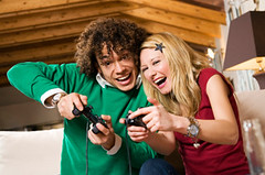 Game on (Diana Wylde) Tags: videogame couple game leisure friends fun male man latinamerican caucasian diversity interracial home sofa blond friendship girl woman girlfriend people young together togetherness competition contest expressingpositivity happiness smiling playing concentrating active challenge leisureactivity guy amusing havingfun excited exciting happy joy enjoying concentration activity challenging joystick joypad determination winning multiethnic