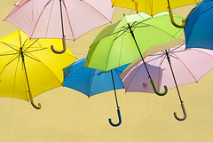 Umbrellas in Bziers (on Explore) (Jan van der Wolf) Tags: map158591v umbrella umbrellas parasol paraplu herhaling repetition pastel street straat bziers parasols colors kleuren colours composition compositie