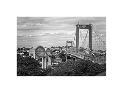 The Tamar Crossings (silver/halide) Tags: transport tamar rivertamar royalalbertbridge gwr ikb isambardkingdombrunel roadbridge a38 saltash devon cornwall kernow johnbaker d750 span blackandwhite blackwhite monochrome railbridge architecture victorian