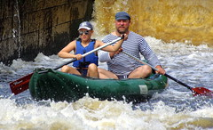 23.8.16 Vyssi Brod Weir 064 (donald judge) Tags: czech republic south bohemia vyssi brod weir boats rafts canoes river vltava