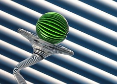 Green & Blue (Karen_Chappell) Tags: green blue stripes lines tilt angle diagonal glass ball circle round geometry geometric abstract refraction orb sphere stilllife