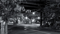 CURVING UNDER THE BRIDGE -55415- (Terry Frederic) Tags: architecture bridges buildings canon5dmkiii lightroom661processed longexposure monotone niksilverefexpro night oregon pearldistrict photoblend photoshop portland silverefexpro streetscene streets terryfrederic topazadjust5processed topazdenoiseprocessed usa vintagefilmeffect