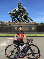 Sherry at USMC Memorial 2 (Mr.TinDC) Tags: people friends cyclists sherry pinarello dogma usmc memorials iwojima sculpture statue usmarines marinecorps