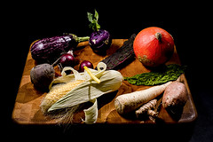 Fall grub. In our crisper drawer. For a ratatouille (Angelbattle bros) Tags: autumn red fresh background fall green healthy food stilllife indoor tasty vegetable delicious organic ratatouille foodart
