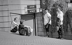 afternoon break (Robert Borden) Tags: outside outdoors west coast washington seattle restaurant workers break kitchen take5 portrait people group candid canon bw
