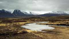 those landscapes that strike an inner chord (lunaryuna) Tags: iceland northiceland landscape panoramicviews wilderness spring season seasonalchange mountainrange snowcappedmountains boglands thiscouldbeascottishglen weather overcast sky lightmood lunaryuna
