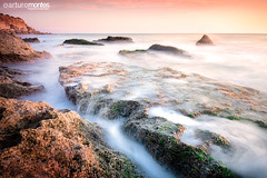 Conil Warm Sunset (arturomontes) Tags: landscape paisaje longexposure largaexposicin seascape sunset sunrise sea rock water silk colors rocas conildelafrontera cadiz roche mar travel fuji xt1 xf14 hitech haida lucroit