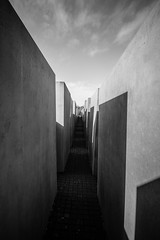 Memorial to the Murdered Jews of Europe, Berlin, Germany (ajayem) Tags: flikr ol travel photography canon canon60d germany deutscshland berlin sommer summer fall autumn memorial blackandwhite blackandwhitephotography