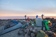 Nice campsite (LucienTj) Tags: haze camping backpacking hazy tents backpack sunset rocks mountaineering campsite