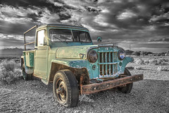 Blue Truck (magnetic_red) Tags: truck blue jeep willys rusted rusty abandoned sky clouds dramatic colorpop sunset goldenhour desert tecopa deathvalley americanwest selectivecolor