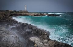 Tempesta al faro (raffaeledirosa) Tags: seascape tempesta storm mare sicilia faro siracusa spruzzi sicily landscapes onda acqua costa paesaggio litorale roccia vista sullacqua baia